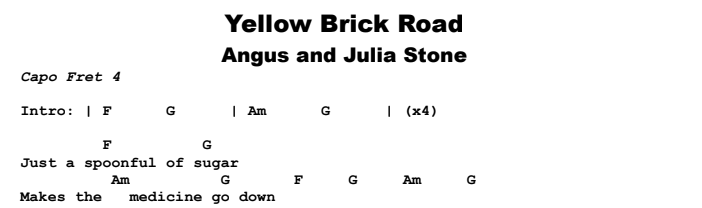 Angus and Julia Stone - Yellow Brick Road Chords & Songsheet