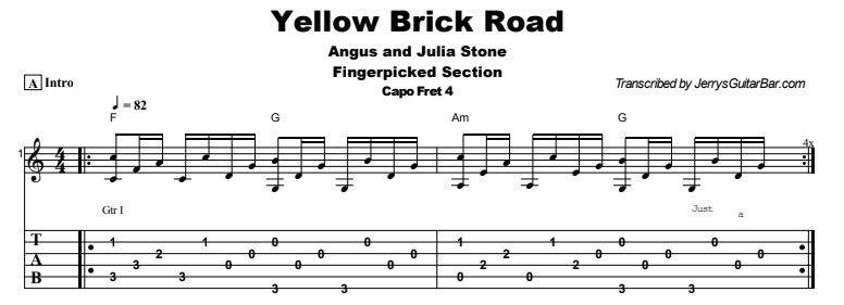 Angus and Julia Stone - Yellow Brick Road Tab