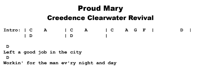 Creedence Clearwater Revival - Proud Mary Chords & Songsheet