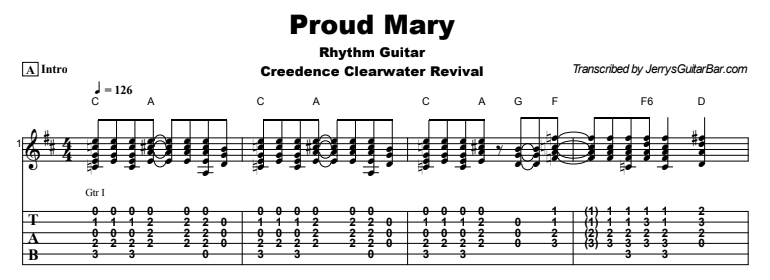 Creedence Clearwater Revival - Proud Mary Tab