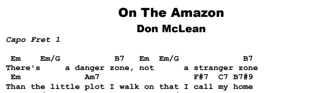 Don McLean - On The Amazon Chords & Songsheet