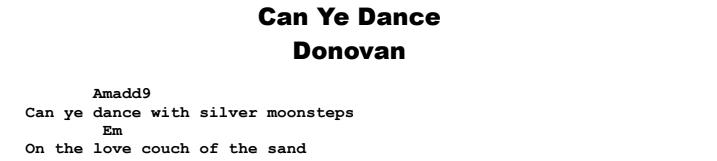 Donovan - Can Ye Dance Chords & Songsheet