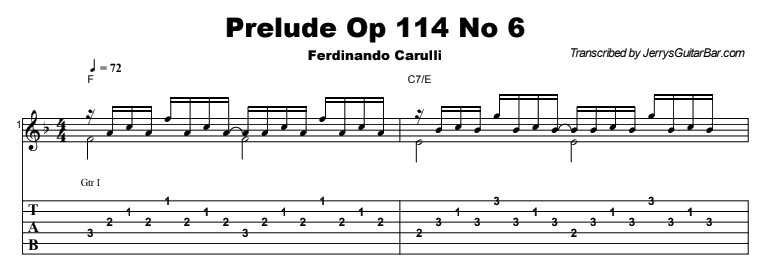 Ferdinando Carulli - Prelude Op 114 No 6 Tab