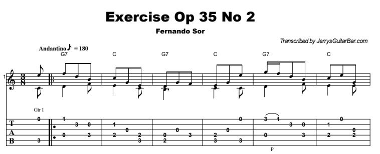 Fernando Sor - Exercise Opus 35 No 2 Tab