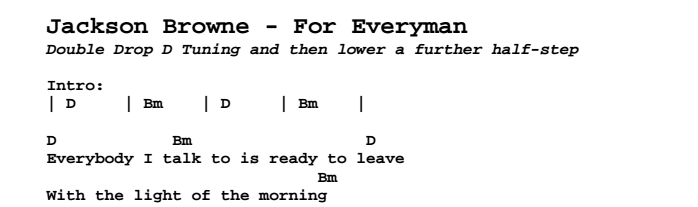 Jackson Browne - For Everyman Chords & Songsheet