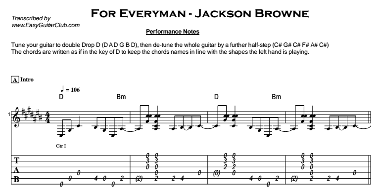 Jackson Browne - For Everyman Tab