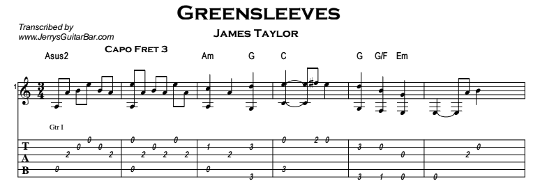 James Taylor - Greensleeves Tab