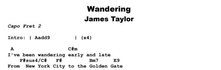 James Taylor - Wandering Chords & Songsheet