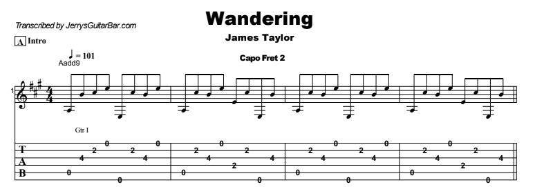 James Taylor - Wandering Tab
