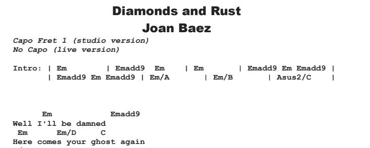 Joan Baez - Diamonds and Rust Chords & Songsheet