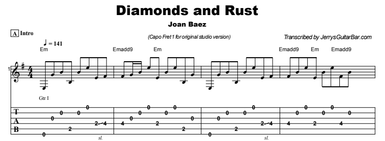 Joan Baez - Diamonds and Rust Tab