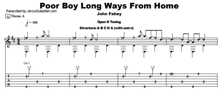 John Fahey - Poor Boy Long Ways From Home Tab