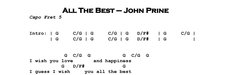 John Prine - All The Best Chords & Songsheet