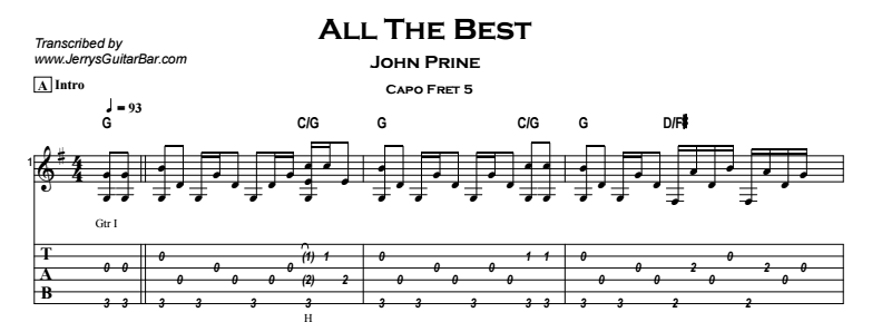 John Prine - All The Best Tab