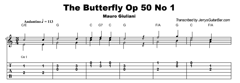 Mauro Giuliani - The Butterfly Op 50 No 1 Tab