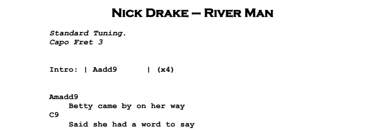 Nick Drake - River Man Chords & Songsheet