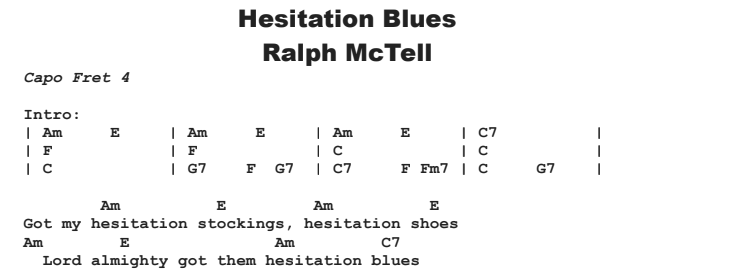 Ralph McTell - Hesitation Blues Chords & Songsheet