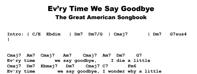 The Great American Songbook – Every Time We Say Goodbye Chords & Songsheet