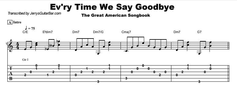 The Great American Songbook – Every Time We Say Goodbye Tab