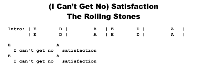 The Rolling Stones - (I Can't Get No) Satisfaction Chords & Songsheet