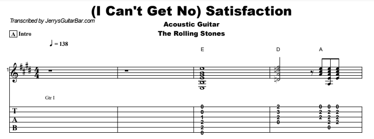 The Rolling Stones - (I Can't Get No) Satisfaction Tab