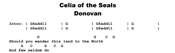 Donovan - Celia of the Seals Chords & Songsheet