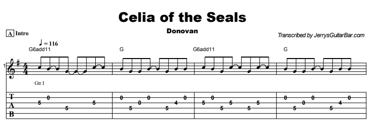 Donovan - Celia of the Seals Tab