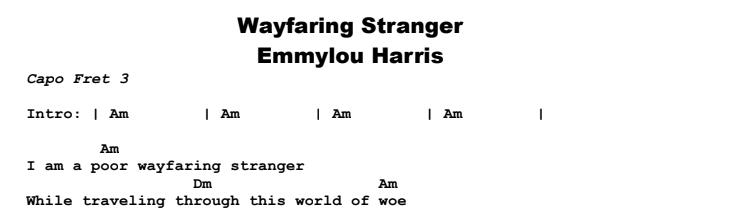 Emmylou Harris - Wayfaring Stranger Chords & Songsheet