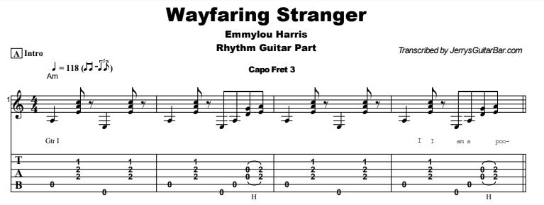 Emmylou Harris - Wayfaring Stranger Tab