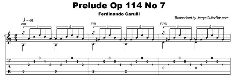 Ferdinando Carulli – Prelude Op 114 No 7 Tab