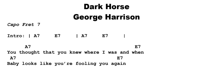 George Harrison - Dark Horse Chords & Songsheet
