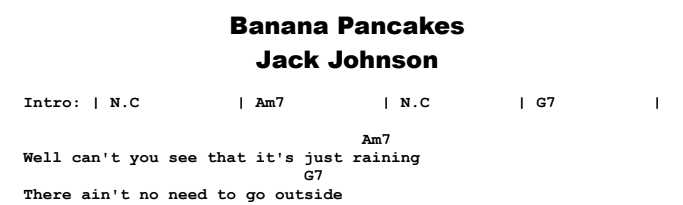 Jack Johnson - Banana Pancakes Chords & Songsheet