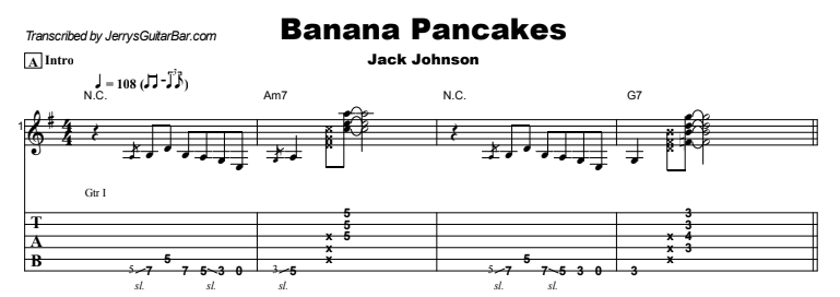 Jack Johnson - Banana Pancakes Tab