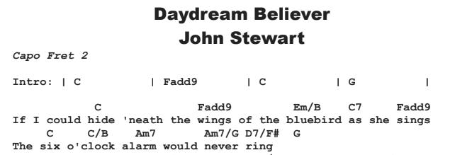 John Stewart - Daydream Believer Chords & Songsheet