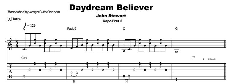 John Stewart - Daydream Believer Tab