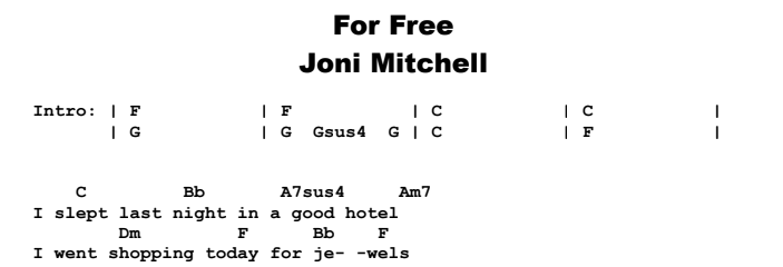 Joni Mitchell - For Free Chords & Songsheet