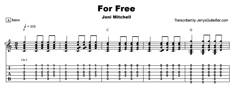 Joni Mitchell - For Free Tab