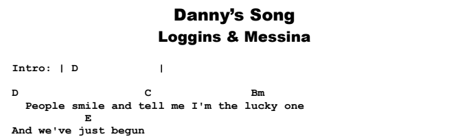 Loggins and Messina - Danny's Song Chords & Songsheet