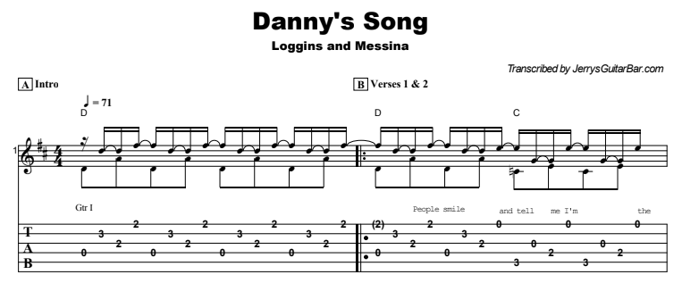 Loggins and Messina - Danny's Song Tab