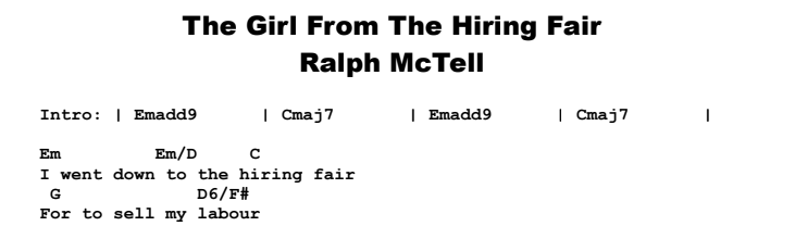 Ralph McTell - The Girl From The Hiring Fair Chords & Songsheet