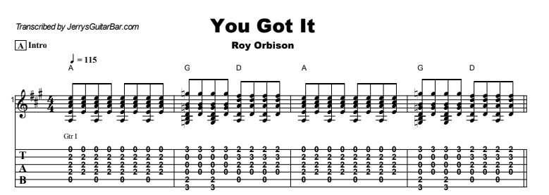 Roy Orbison - You Got It | Guitar Lesson, Tab & Chords | Jerry\'s ...