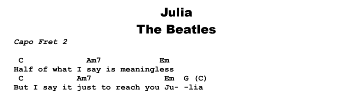 TheBeatles - Julia Chords & Songsheet