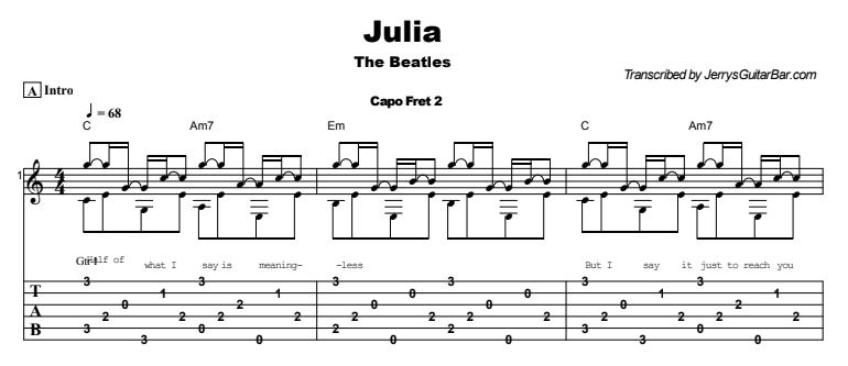 TheBeatles - Julia Tab