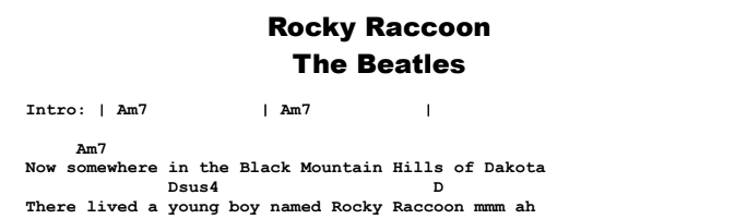 The Beatles – Rocky Raccoon Chords & Songsheet