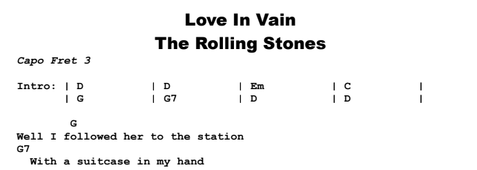 The Rolling Stones - Love In Vain Chords & Songsheet