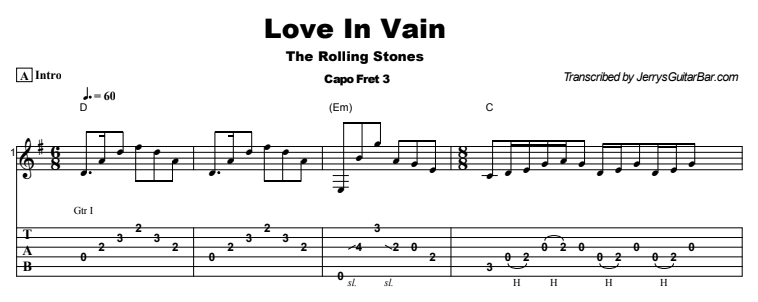 The Rolling Stones - Love In Vain Tab