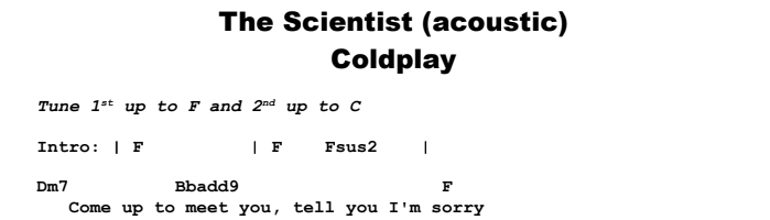 Coldplay - The Scientist (acoustic) Chords & Songsheet