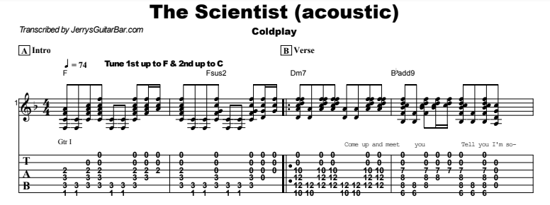 Coldplay - The Scientist (acoustic) Tab