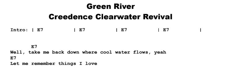 Creedence Clearwater Revival - Green River Chords & Songsheet