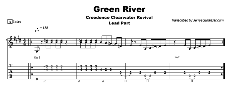 Creedence Clearwater Revival - Green River Tab